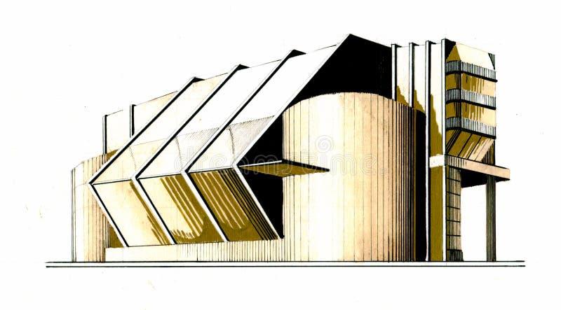在手拉的构成主义的大厦 库存例证