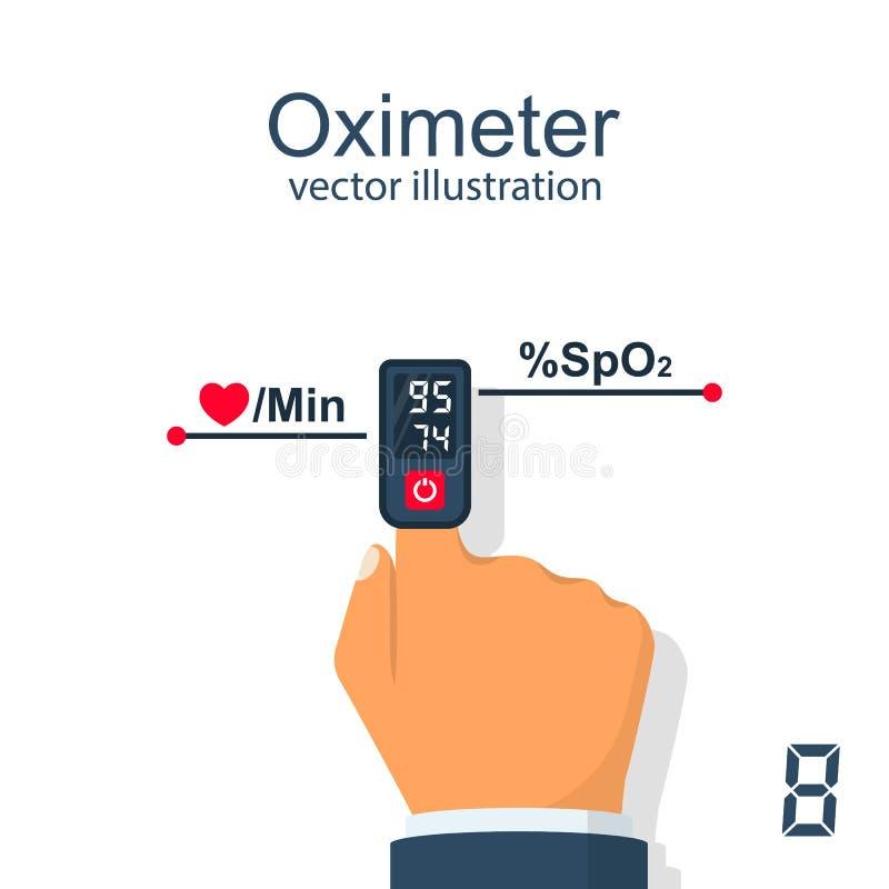 在手指传染媒介的血氧定量计 皇族释放例证