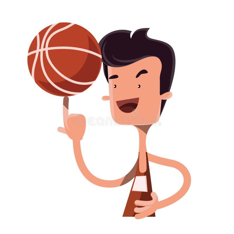 在手指例证漫画人物的男孩转动的篮球球 皇族释放例证