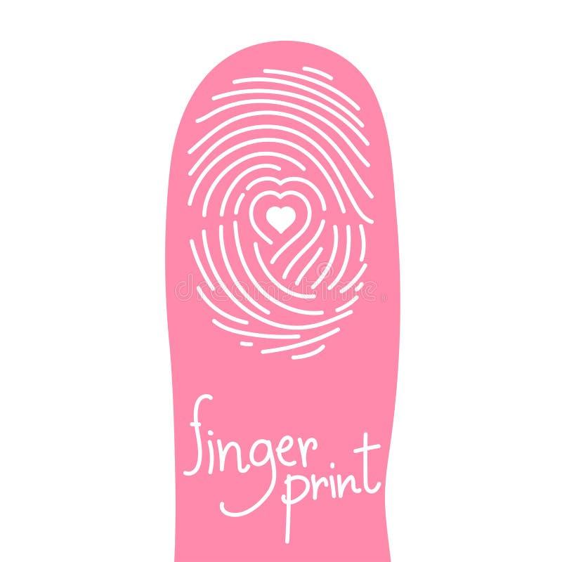 在手指剪影的指纹扫描设置了与爱心脏标志 库存例证