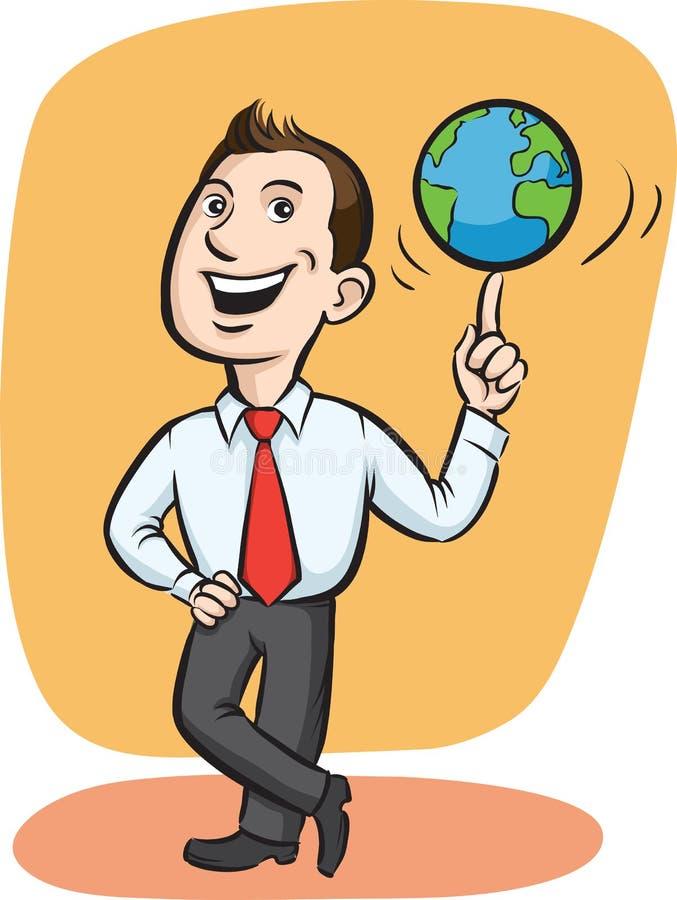 在手指的生意人空转的地球 皇族释放例证