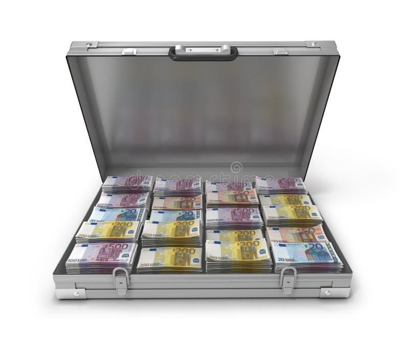在手提箱3d的欧洲票据 向量例证