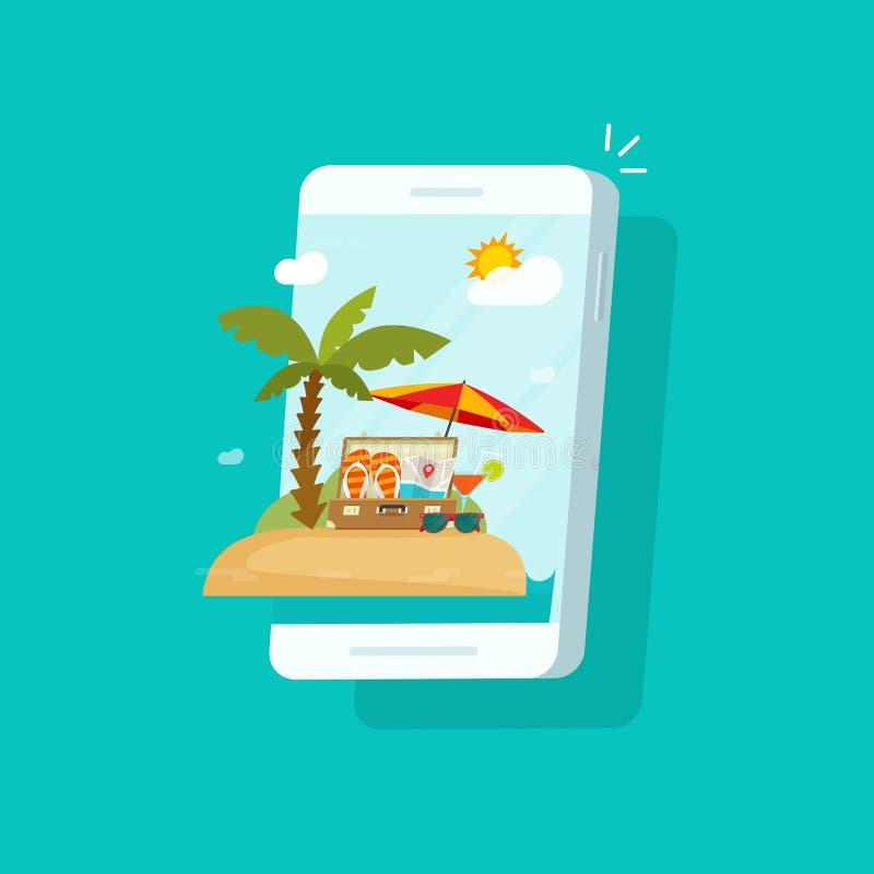 在手机屏幕传染媒介例证,有夏天海滩职业的,概念平的动画片智能手机的手段场面  向量例证