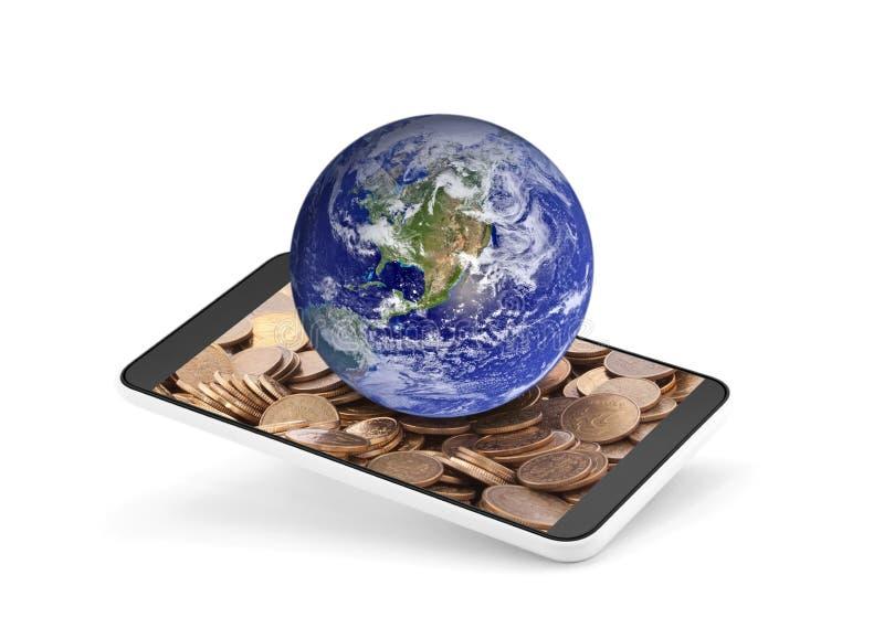 在手机的世界地球有在屏幕上的金钱的 库存图片