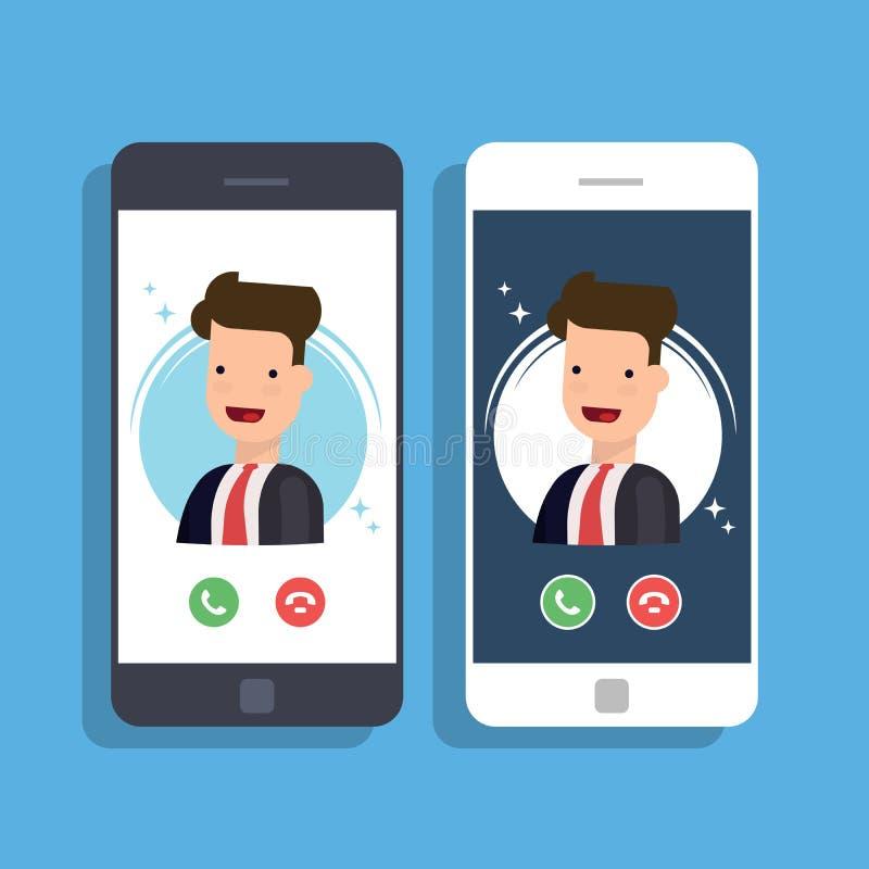 在手机的进来电话 商人或经理 皇族释放例证