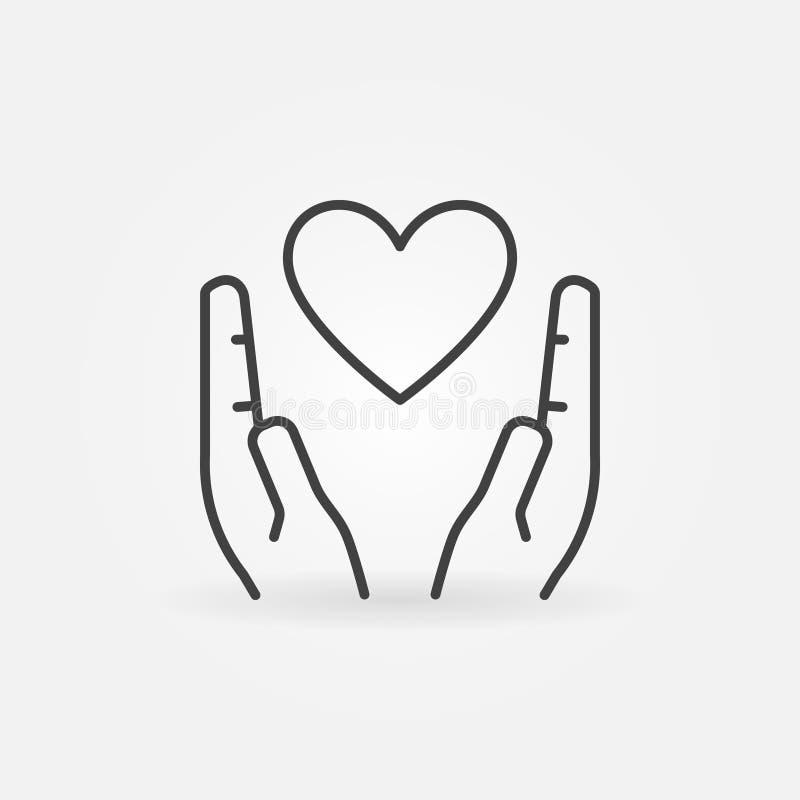 在手概述象的心脏 传染媒介爱概念标志 向量例证