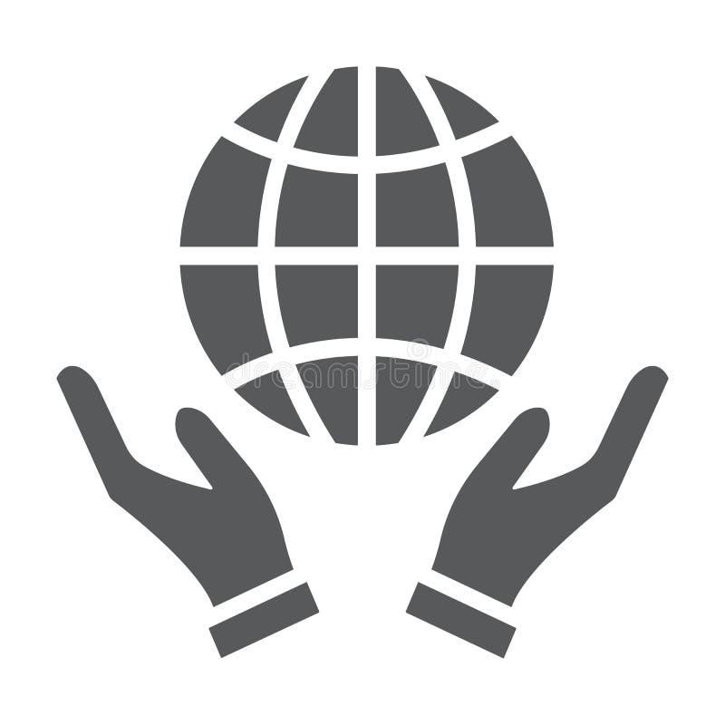 在手纵的沟纹象、生态和地球,在胳膊的行星的地球签署,向量图形,在白色的一个坚实样式 皇族释放例证