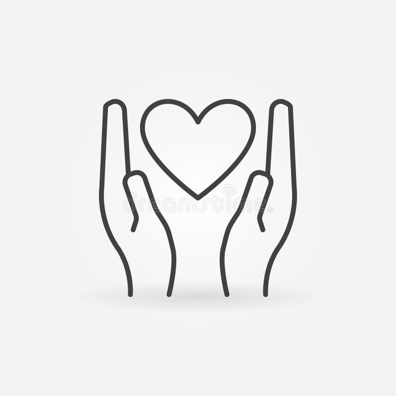 在手线性象的心脏-导航捐赠标志 皇族释放例证