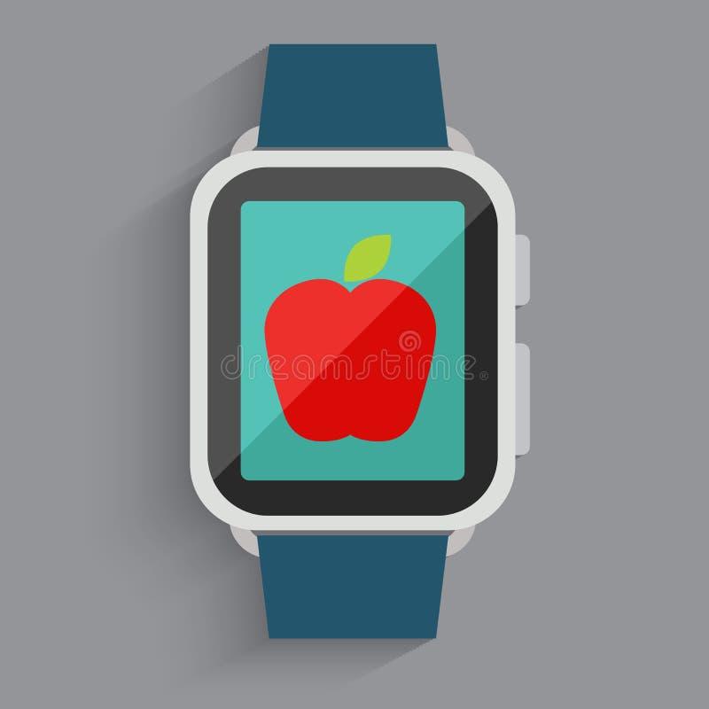 在手表屏幕的红色苹果 库存例证
