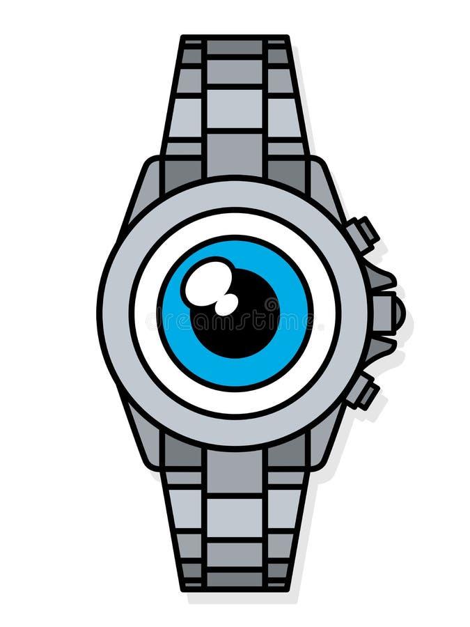 在手表巧妙的手表的面孔的蓝眼睛 皇族释放例证