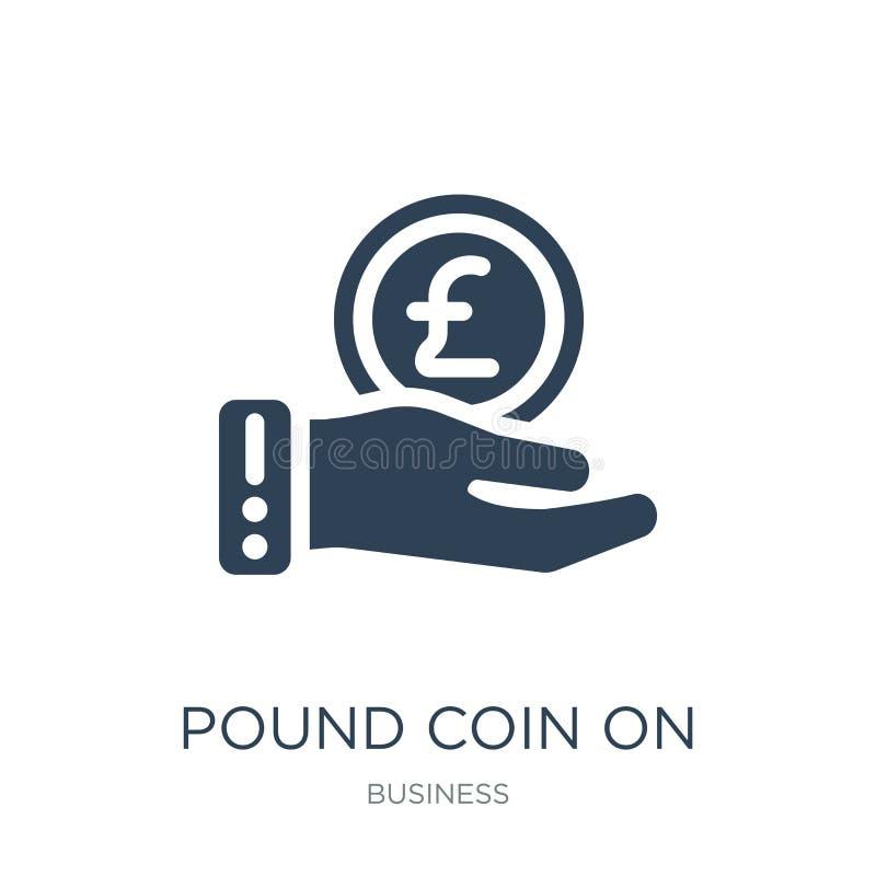 在手象的1英镑硬币在时髦设计样式 在白色背景隔绝的手象的1英镑硬币 在手传染媒介的1英镑硬币 皇族释放例证
