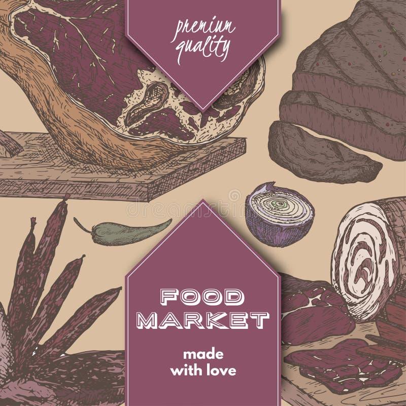 在手边上色食物与肉纤巧基于被画的剪影的市场模板 皇族释放例证