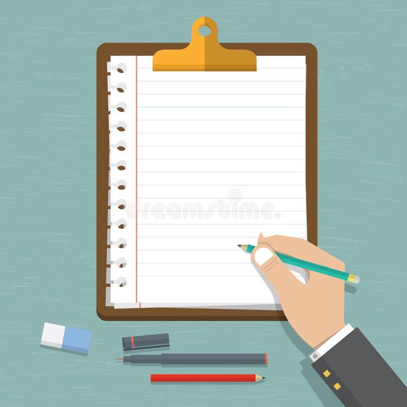 在手边导航拿着有空的纸片的现代平的设计铅笔 有空白的白皮书的经典棕色剪贴板 向量例证