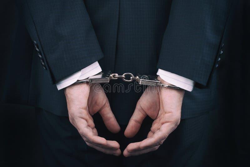 在手铐的被拘捕的商人用在后面后的手 库存图片