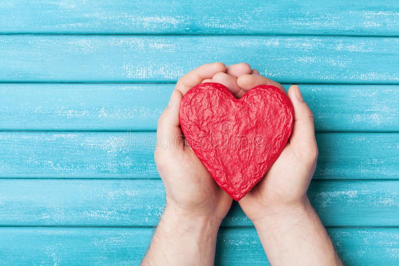 在手顶视图的红色心脏 健康,爱、捐赠器官、捐款人、希望和心脏病学概念 可用的看板卡日文件华伦泰向量 库存照片
