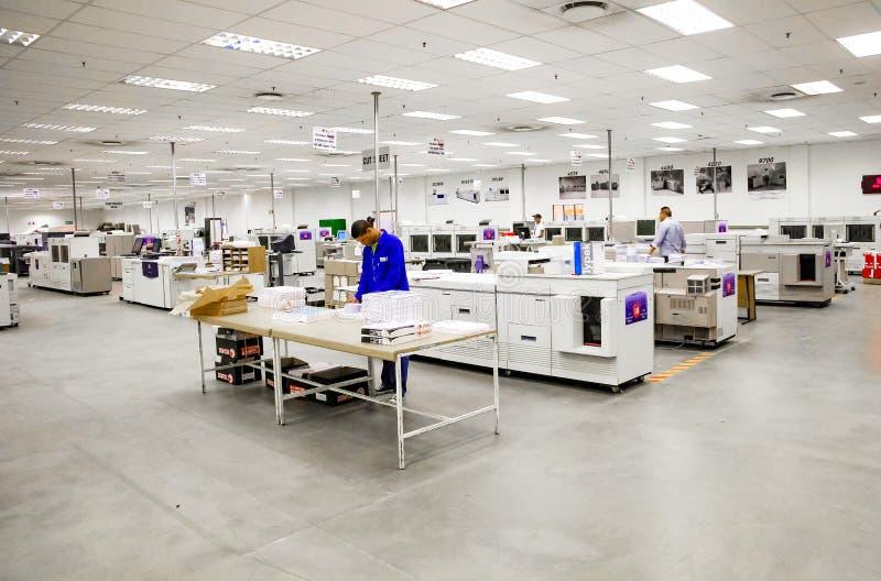 在打印和包装工厂里面设施 库存图片