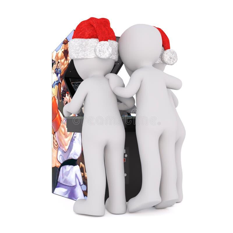 在打录影娱乐游戏的圣诞老人帽子的Toons 向量例证