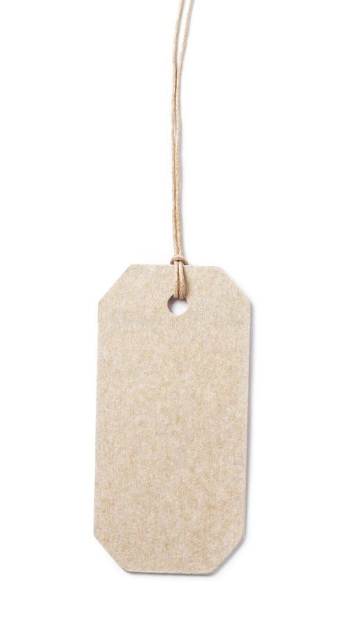 在打蜡的绳子的价牌从被回收的纸 免版税库存照片