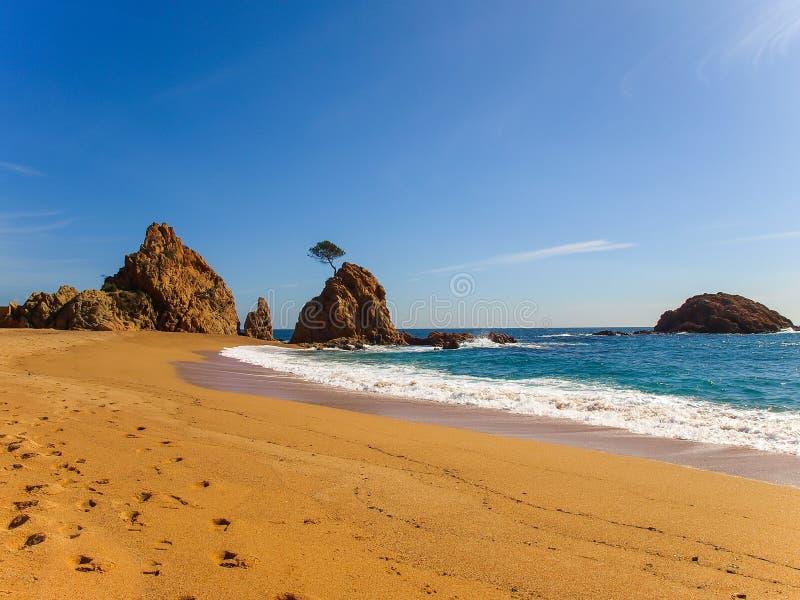 在托萨德马尔,卡塔龙尼亚,西班牙毁损Menuda海滩 库存图片