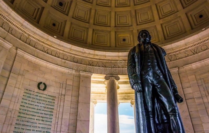 在托马斯・杰斐逊纪念品里面,华盛顿特区, 免版税库存照片