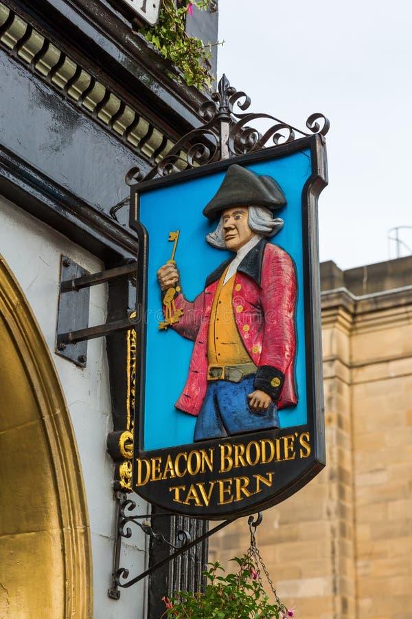 在执事Brodies小酒馆的标志在爱丁堡,苏格兰 免版税库存图片