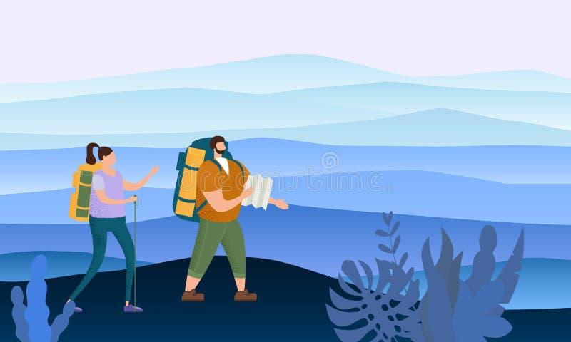 在执行室外旅游活动-冒险旅行的爱的游人逗人喜爱的夫妇,远足走的旅行旅游业体育 向量例证