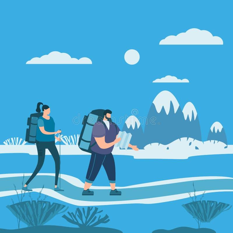在执行室外旅游活动-冒险旅行的爱的游人逗人喜爱的夫妇,远足走的旅行旅游业体育 皇族释放例证