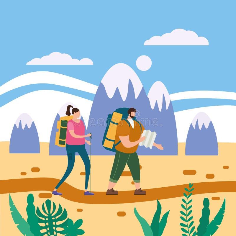 在执行室外旅游活动-冒险旅行的爱的游人逗人喜爱的夫妇,远足走的旅行旅游业体育 库存例证