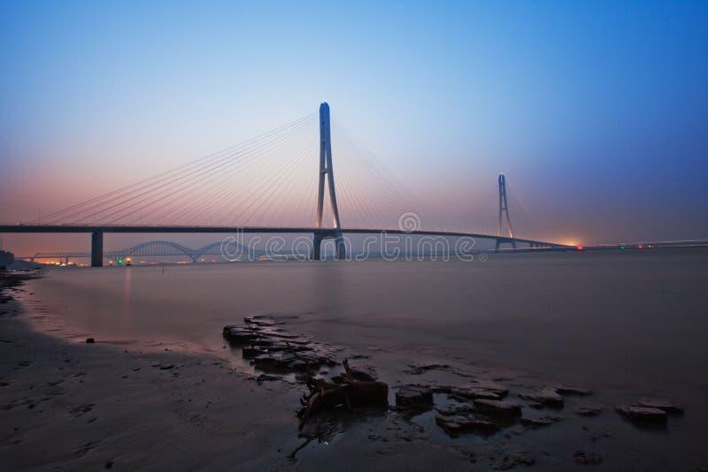 在扬子的第三座桥梁在南京劈裂 免版税库存照片