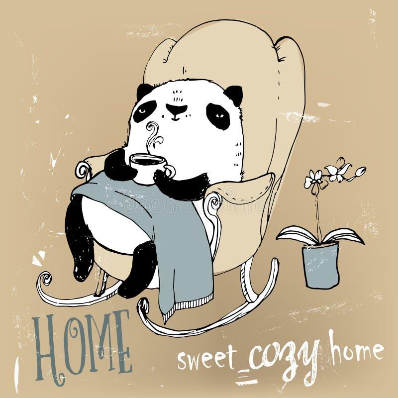 在扶手椅子的逗人喜爱的熊猫 向量例证