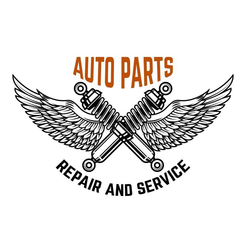 在技工服务工作里面的自动汽车 服务站 汽车修理 设计商标的,标签,象征,标志元素 皇族释放例证