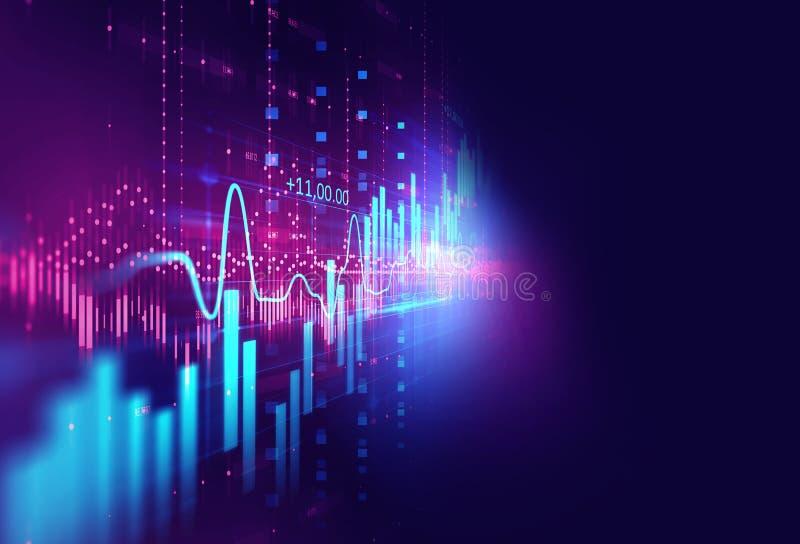 在技术摘要背景的技术财政图表 库存例证