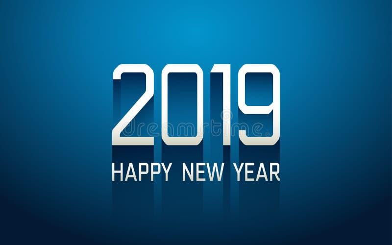在技术现代文本的新年好2019年与对蓝色颜色背景的长的下落屏蔽效应 向量例证