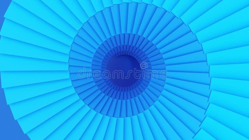在技术的数字资料的蓝色螺旋形楼梯结构或隧道 皇族释放例证