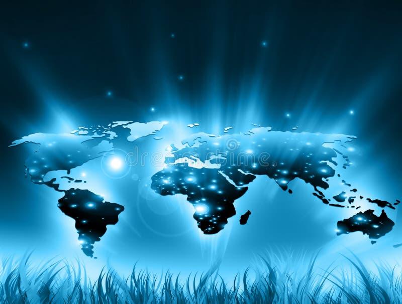 在技术背景的世界地图,发光排行互联网,收音机,电视,机动性和卫星的