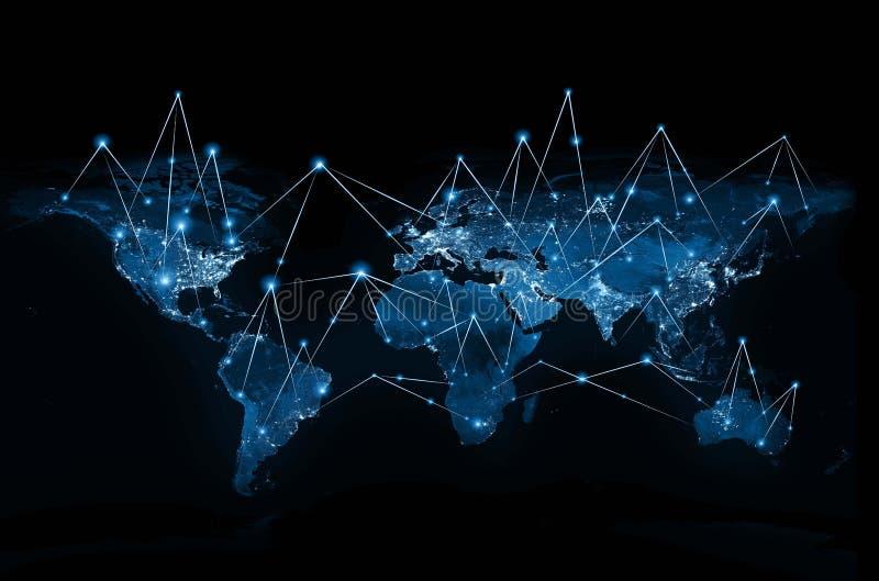 在技术背景的世界地图 最佳的企业概念全球互联网 用装备的这个图象的元素  库存例证