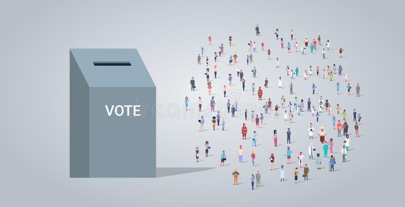 在投票箱选举日表决概念不同的职业雇员附近的人小组混合工作者拥挤投票的种族 库存例证