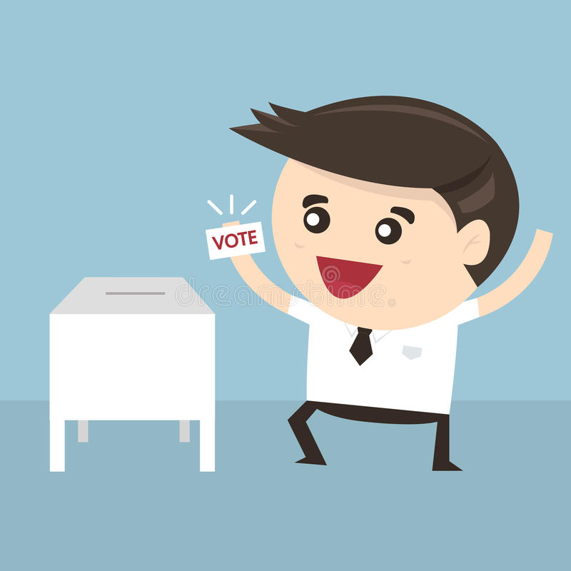 在投票箱,传染媒介例证的商人表决 向量例证