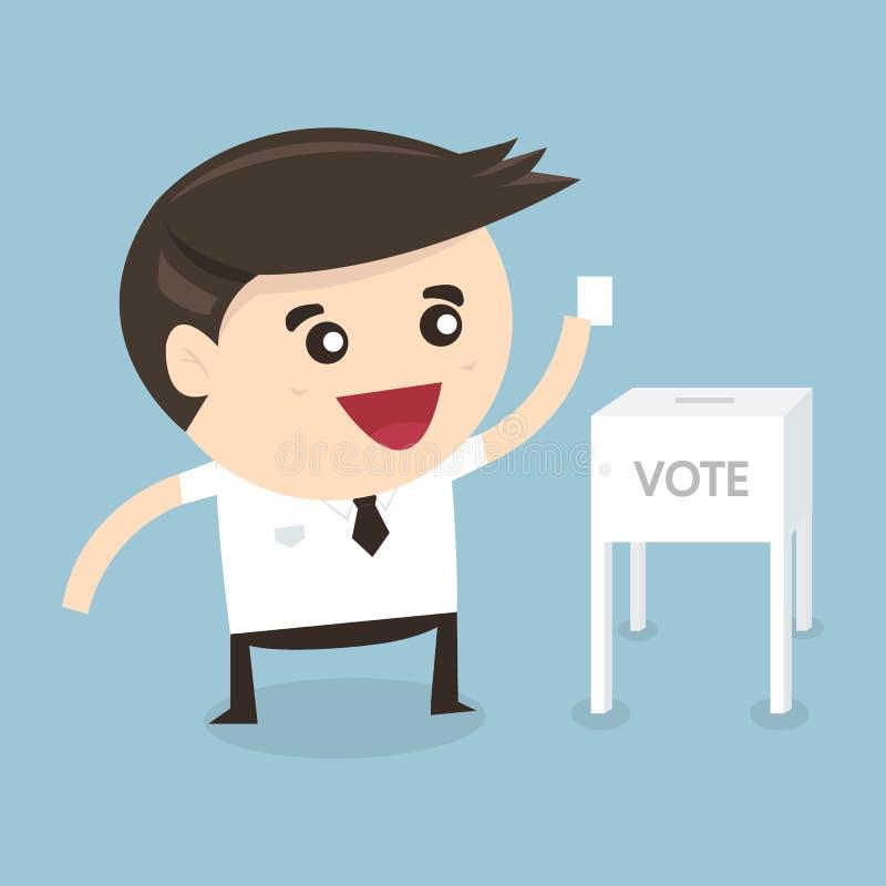 在投票箱,传染媒介例证的商人表决 库存例证