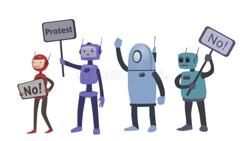 在抗议行动的机器人 斗争为机器人权利 向量例证,查出在白色 库存例证