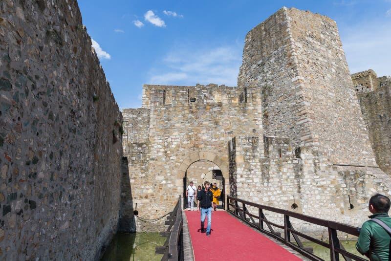 在护城河的桥梁充满在斯梅代雷沃堡垒的废墟的水,站立在多瑙河的银行在Smederev 免版税库存照片
