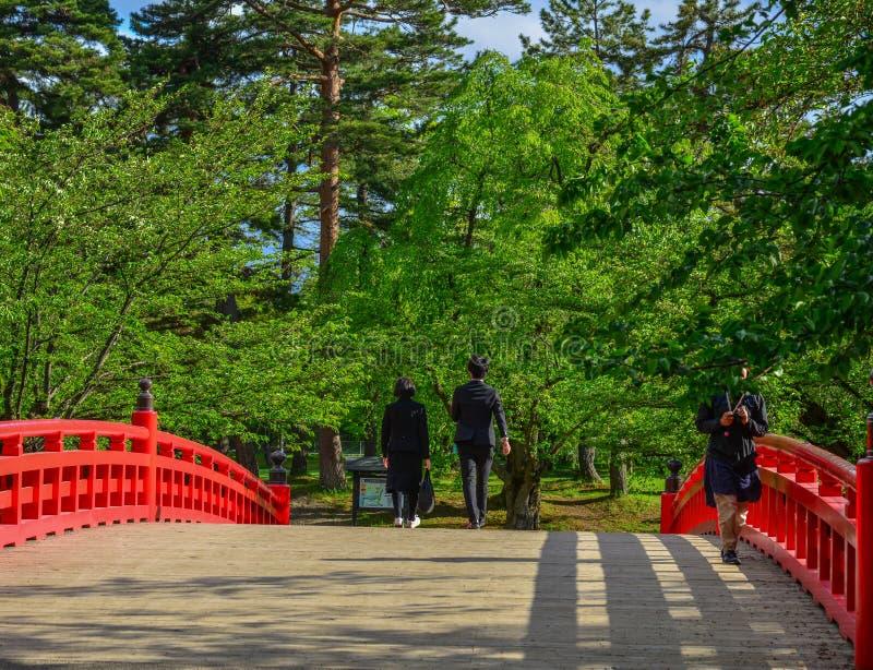 在护城河的红色桥梁 库存图片