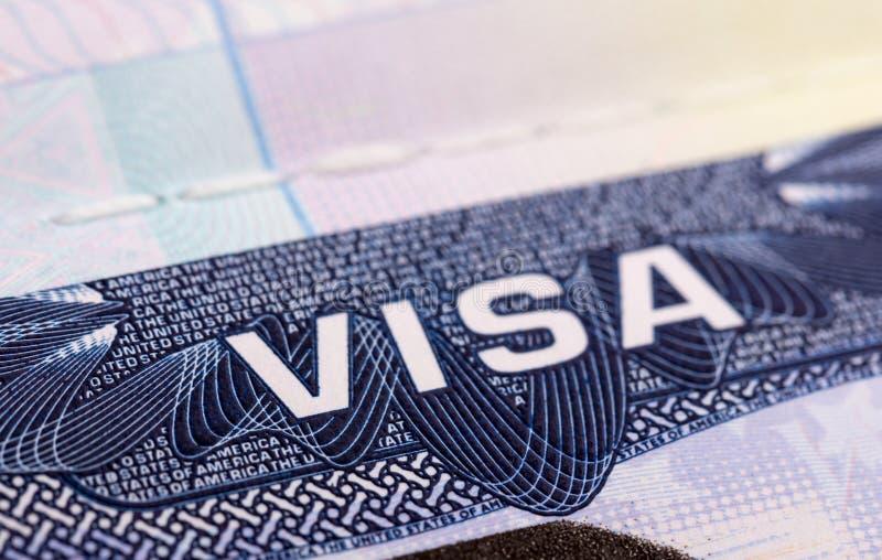 在护照的签证 免版税图库摄影