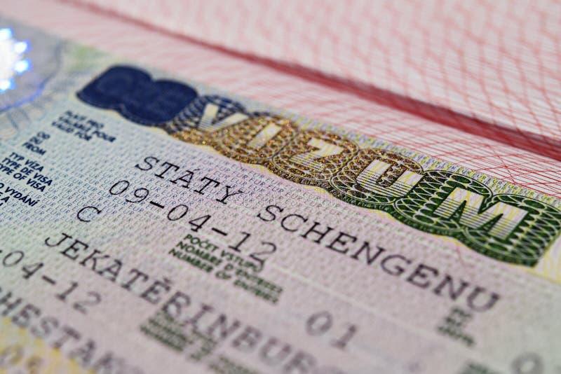 在护照的签证 免版税库存照片