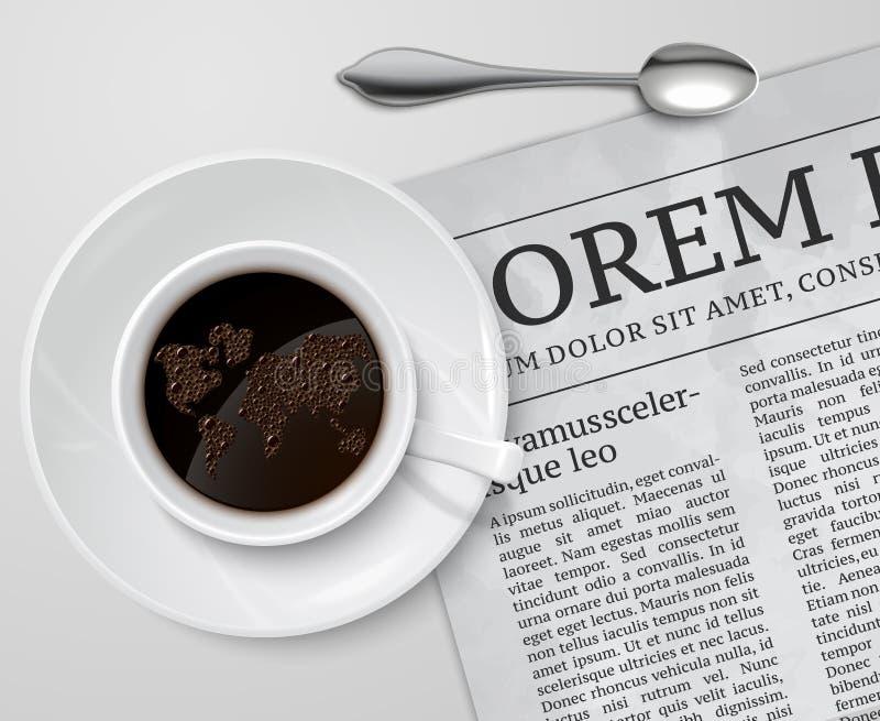 在报纸的咖啡杯 库存例证