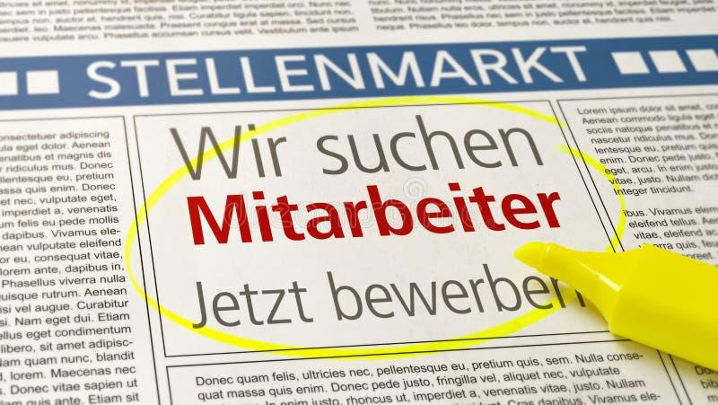 在报纸的工作广告-我们聘用- Wir suchen德语的Mitarbeiter 免版税库存图片