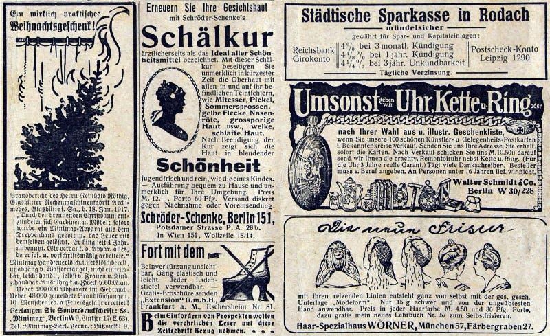 在报纸的广告一一百年前 免版税库存照片
