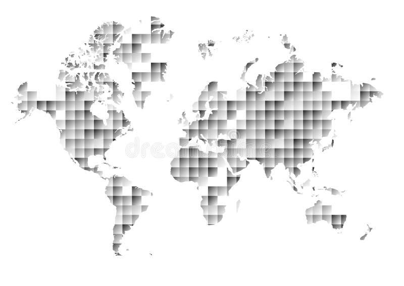 在抽象三角和正方形背景的世界地图 向量例证