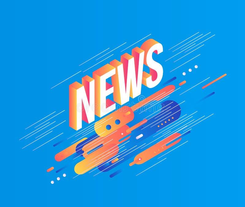 在抽象几何可变的蓝色和橙色颜色形状的新闻等量梯度文本与纹理的设计和条纹 皇族释放例证