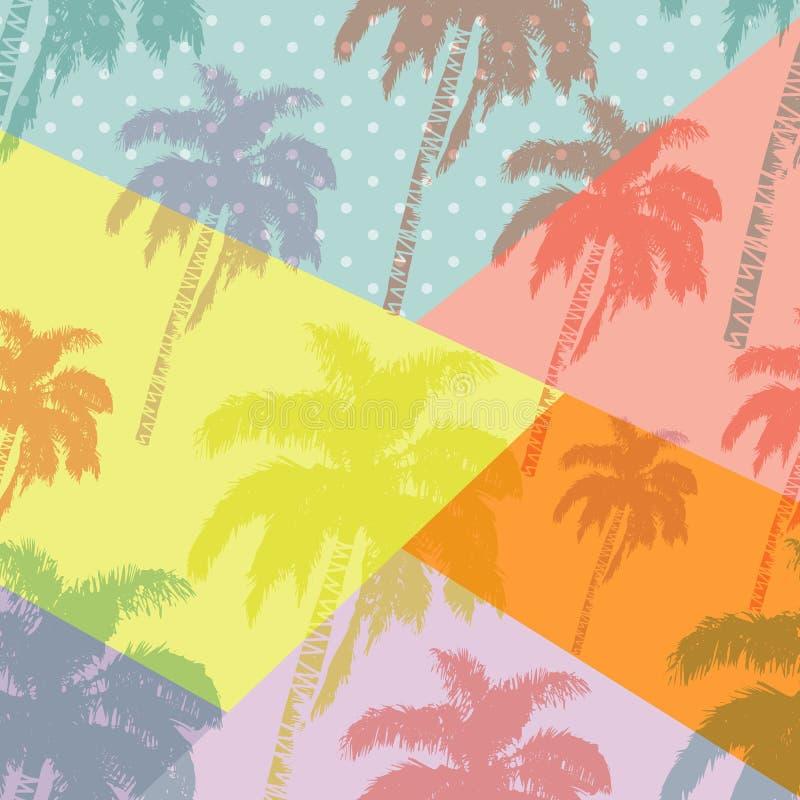 在抽象几何背景隔绝的手拉的棕榈树样式 流行艺术设计 皇族释放例证